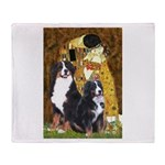 The Kiss - Two Bernese Throw Blanket