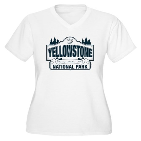 Yellowstone NP Blue Women's Plus Size V-Neck T-Shi