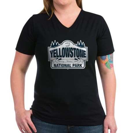 Yellowstone NP Blue Women's V-Neck Dark T-Shirt