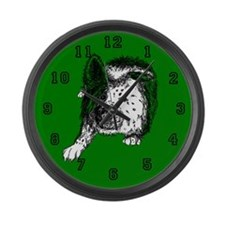 Border Collie Stare Large Wall Clock