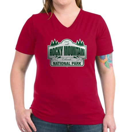 Rocky Mountain National Park Women's V-Neck Dark T