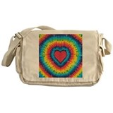Colorful tie dye heart Messenger Bag