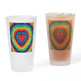 Colorful tie dye heart Drinking Glass
