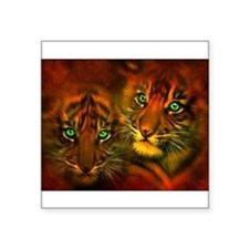 "Two Tigers Square Sticker 3"" x 3"""