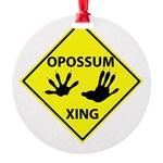 Opossum Crossing Round Ornament
