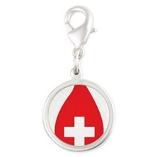 Donate Blood Silver Round Charm