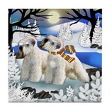 SOFT COATED WHEATEN TERRIER dogs frozen river Tile