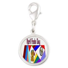 April Fools Day Fun Silver Round Charm