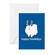 "Pomeranian ""Happy Howlidays"" Greeting Cards (Packa"