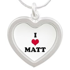 I Love Matt Silver Heart Necklace