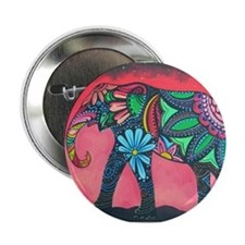 "Psychedelic Elephant 2.25"" Button"