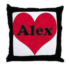 Alex Leather Heart Throw Pillow