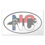 NC North Carolina FLAG Oval Decal