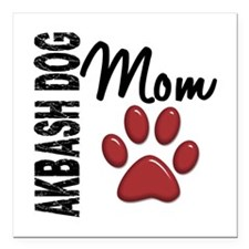 "Akbash Dog Mom 2 Square Car Magnet 3"" x 3"""
