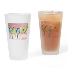 Parakeets Posturing Drinking Glass