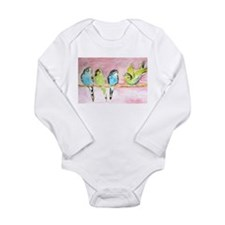 Parakeets Posturing Long Sleeve Infant Bodysuit