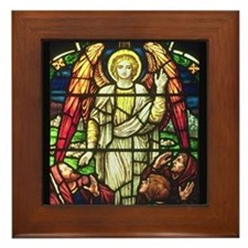 Angel Appearing to Shepherd by Powells Framed Tile