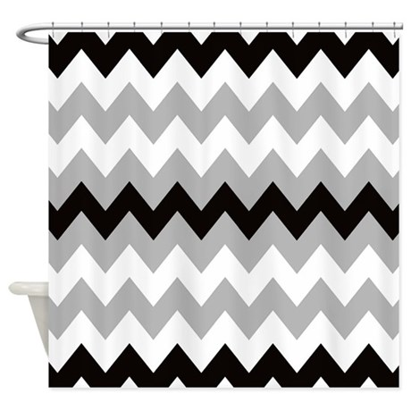 Black Gray And White Stripe Shower Curtain By