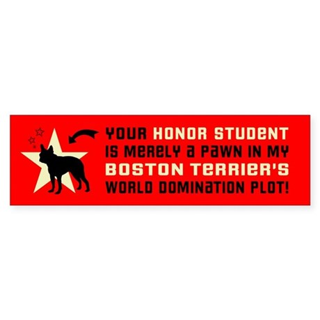 Boston Terrier World Domination Plot Sticker