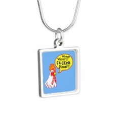 Winner Chicken Dinner Silver Square Necklace