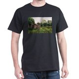 Vine Thatched Cottage Black T-Shirt