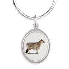 Brown Swiss Cow Silver Oval Necklace