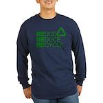 Reduce Reuse Reycle Long Sleeve Dark T-Shirt