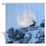 Mule deer moon Shower Curtain