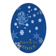 Wormhole and snowflakes Oval Ornament
