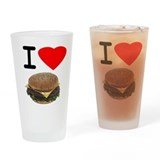 Cute I love meat Drinking Glass