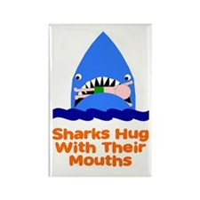 Sharks hug with their mouths Rectangle Magnet