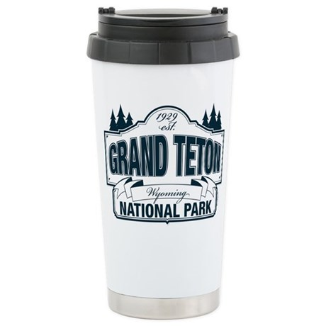 Grand Teton Blue Sign Ceramic Travel Mug