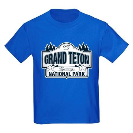Grand Teton Blue Sign Kids Dark T-Shirt