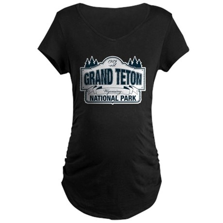 Grand Teton Blue Sign Maternity Dark T-Shirt