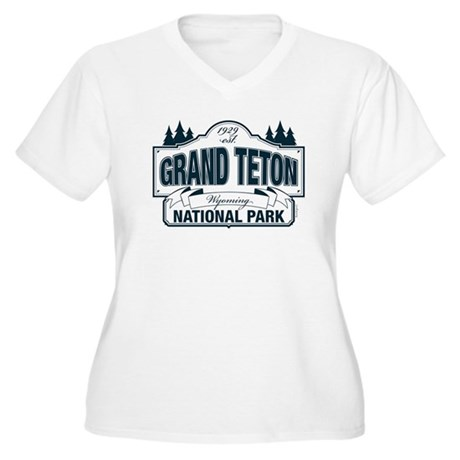 Grand Teton Blue Sign Women's Plus Size V-Neck T-S