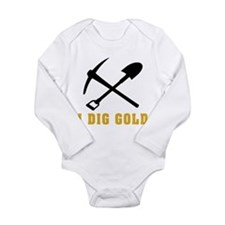 Rockhoud I Dig Gold Long Sleeve Infant Bodysuit