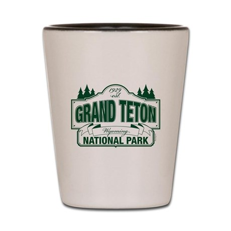 Grand Teton Green Sign Shot Glass