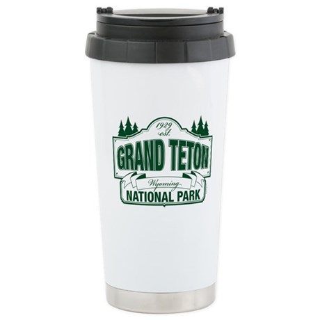 Grand Teton Green Sign Ceramic Travel Mug