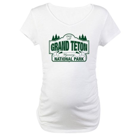 Grand Teton Green Sign Maternity T-Shirt