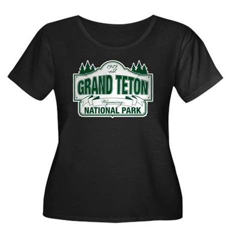 Grand Teton Green Sign Women's Plus Size Scoop Nec