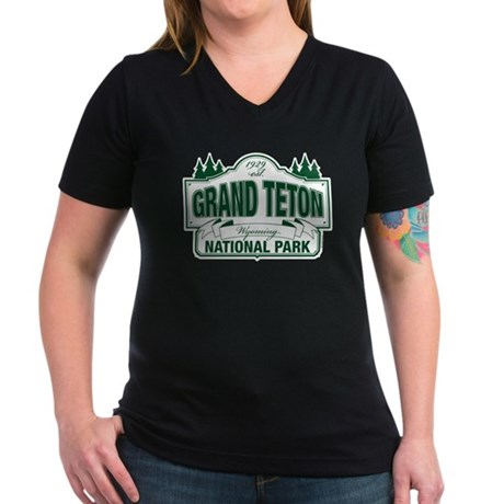 Grand Teton Green Sign Women's V-Neck Dark T-Shirt
