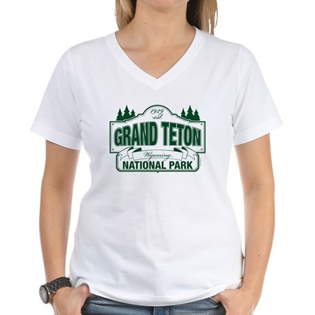 Grand Teton Green Sign Women's V-Neck T-Shirt