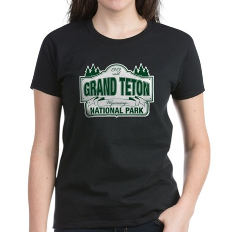 Grand Teton Green Sign Women's Dark T-Shirt