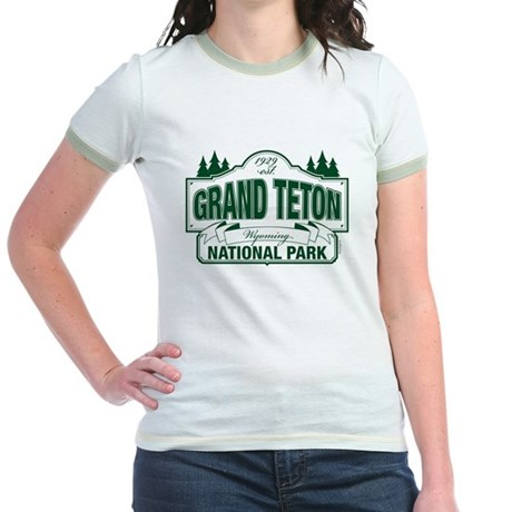 Grand Teton Green Sign Jr. Ringer T-Shirt