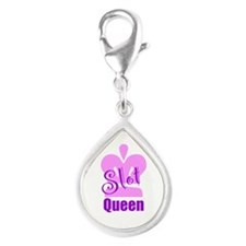 Slot Queen Silver Teardrop Charm