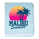 Vintage Malibu Sunset used baby blanket