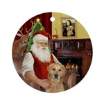 Santa's Golden Retriever (K) Ornament (Round)