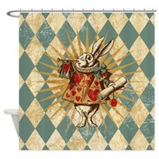 white-rabbit-vintage_b.jpg Shower Curtain
