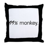 99% Monkey Throw Pillow