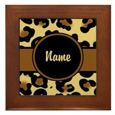 Leopard Print Personalized Framed Tile